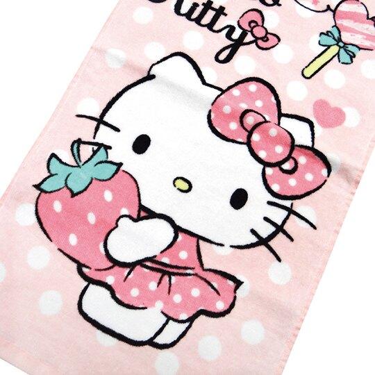 【領券折$30】小禮堂 Hello Kitty 純棉割絨長毛巾 兒童毛巾 純棉毛巾 長巾 童巾 28x54cm (粉 草莓)