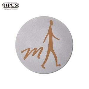 OPUS 歐式鐵藝廁所標示牌/WC洗手間(男生圓款/邂逅)銀男生圓款 / 不鏽鋼