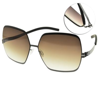 ic!berlin 太陽眼鏡 薄鋼大方框款/槍黑-漸層棕鏡片 #ANGELINA T. GUN METAL