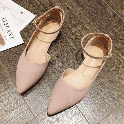 韓國KW美鞋館-(現貨)明星同款舞漾花蝶素面尖頭鞋(共1色)