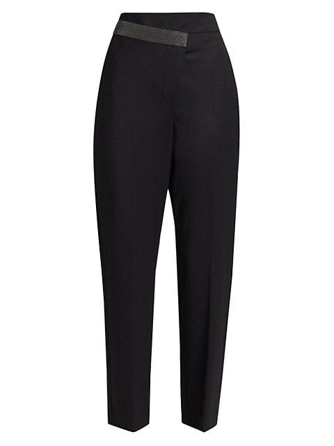 Monili Side Belt Gabardine Evening Pants