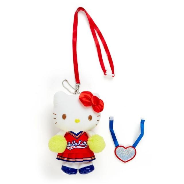 小禮堂 Hello Kitty 絨毛吊飾 附頸掛繩 動動玩偶 玩偶吊飾 (紅黃 應援啦啦隊)
