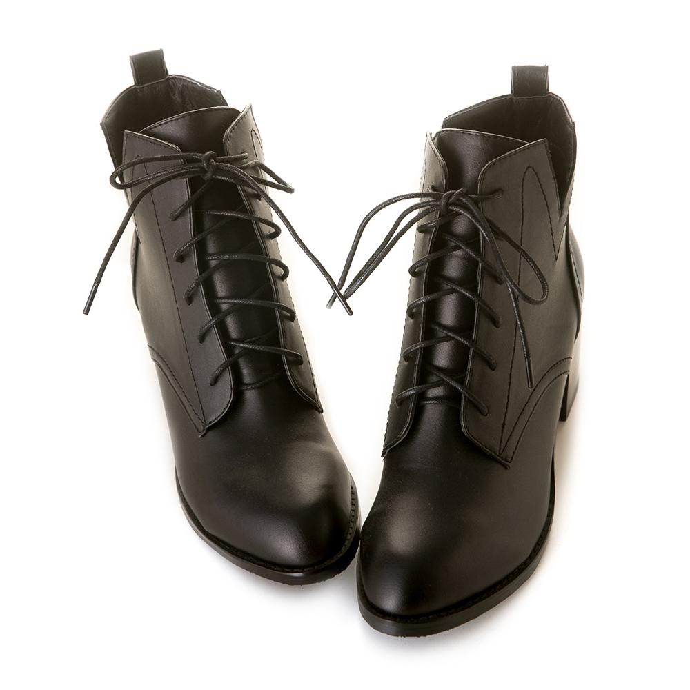 《Olivia奧麗薇亞》率性綁帶V口高跟短靴 黑 GW18-105BK