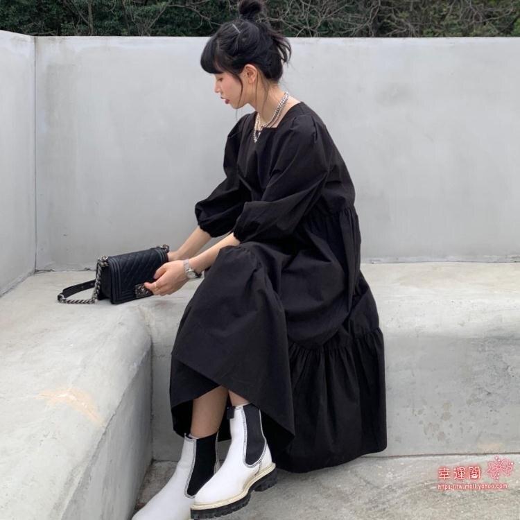 泡泡袖洋裝 森女系長袖洋裝可鹽可甜寬鬆顯瘦中長款泡泡袖裙子女2020流行潮