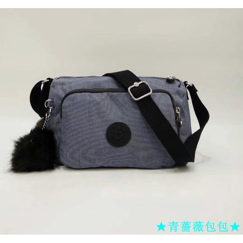 ★青薔薇包包★Kipling 猴子包 K12969 牛仔藍灰 輕量輕便多夾層 斜背肩背包 防水 限時優惠