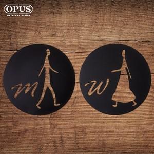 OPUS歐式鐵藝廁所標示牌/洗手間(男女圓形套組/邂逅)黑圓形套組 / 鏤空黑