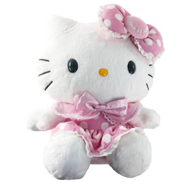小禮堂 Hello Kitty 12吋絨毛玩偶 絨毛娃娃 中型玩偶 布偶 (粉點點洋裝)