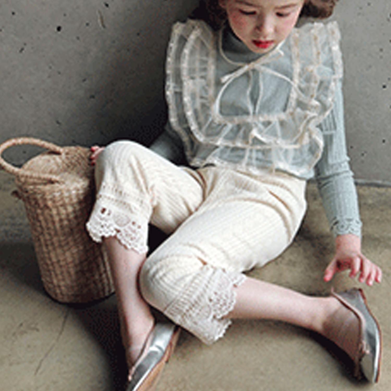 韓國 PuellaFLO - 圈圈雕花唯美長褲-米白