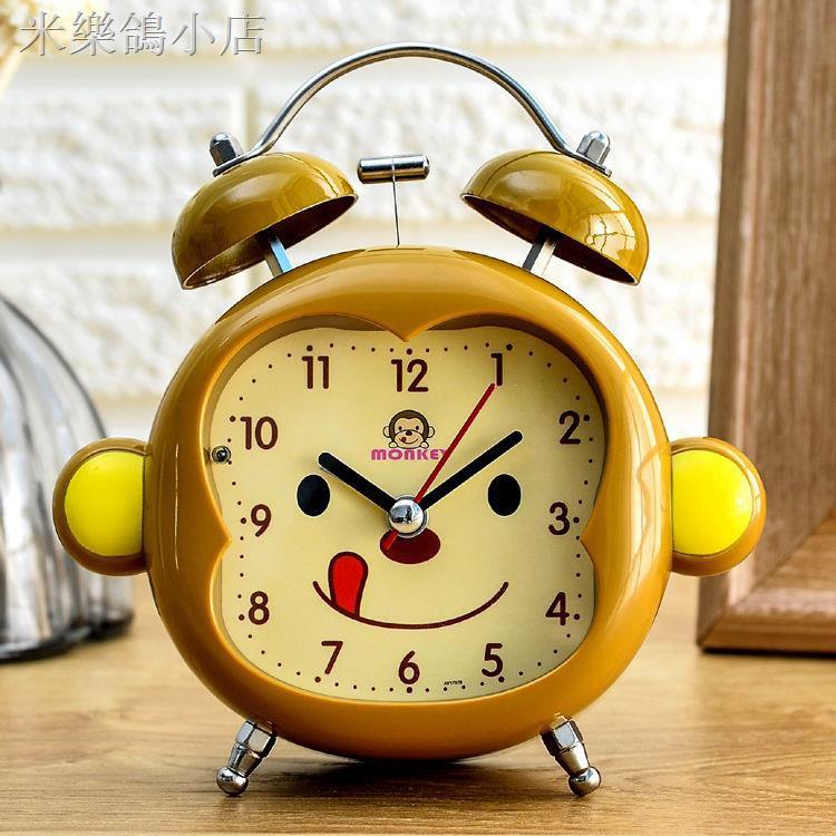 ✉✽打鈴金屬學生兒童卡通創意靜音夜燈臥室床頭小鬧鐘座鐘