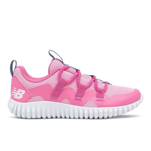 New Balance W 中童粉色網布輕量慢跑鞋-NO.PTPGRVLL