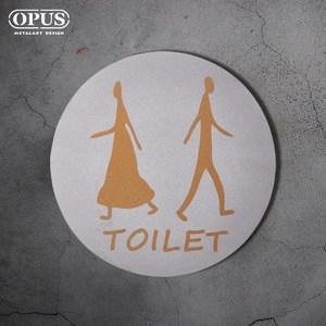 OPUS歐式鐵藝廁所標示牌/WC洗手間(圓款TOILET/邂逅)銀TOILET圓款 / 不