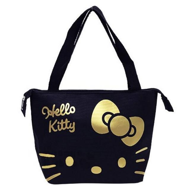 小禮堂 Hello Kitty 尼龍橫式手提袋肩背袋《黑金.大臉》便當袋.野餐袋