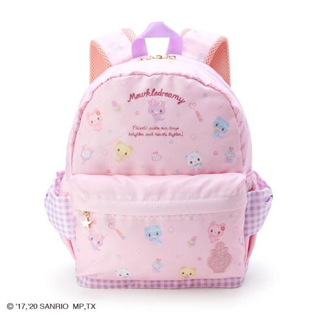 小禮堂 甜夢貓 尼龍雙層後背包 防潑水後背包 休閒背包 書包 10L (粉 化妝品)