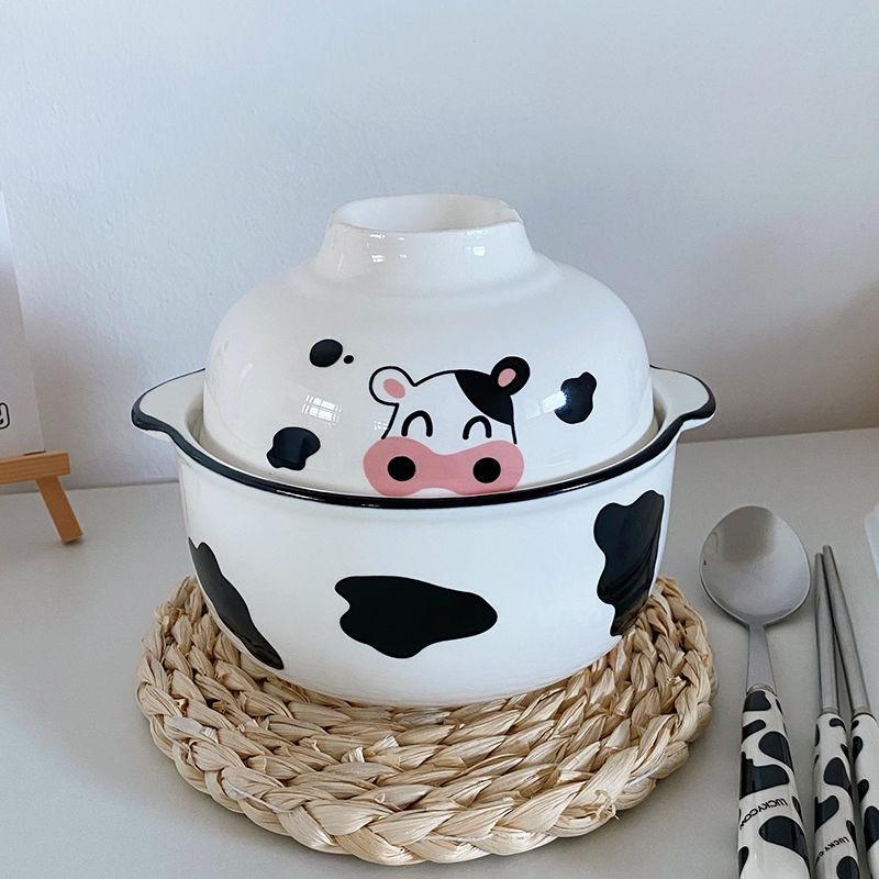 MIHMMAMA創意個性韓版學生宿舍泡面碗陶瓷可愛少女心日式湯碗帶蓋帶勺餐具