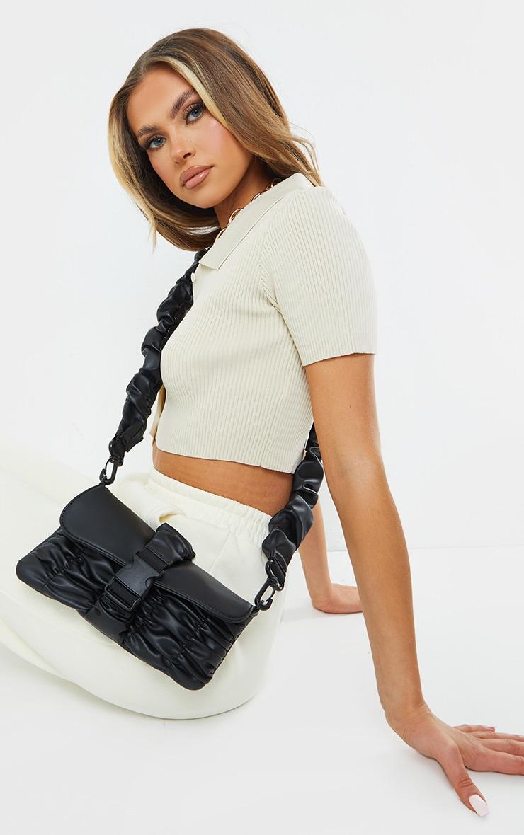 Black Ruched PU Cross Body Bag