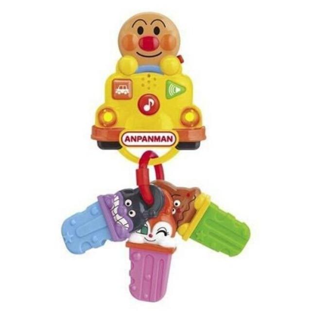 小禮堂 麵包超人 車造型鑰匙玩具 嬰兒車玩具 音樂玩具 安撫玩具 (黃 三支)