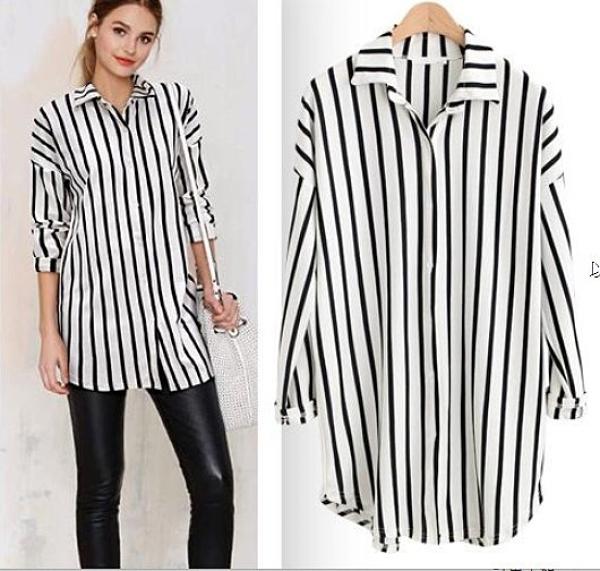 現貨黑白條XL氣質時尚T恤襯衫中大尺碼22052春季新款歐美女裝長袖條紋開衫上衣