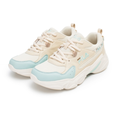 【FILA】HIDDEN TAPE 2 復古慢跑鞋 女鞋-米/粉綠(5-J329V-166)
