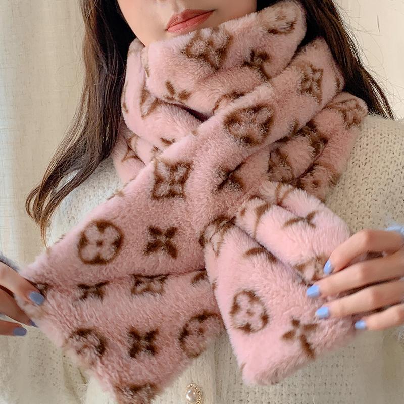 圍巾女冬季保暖可愛少女毛毛絨交叉圍脖學生韓版百搭原宿風ins潮