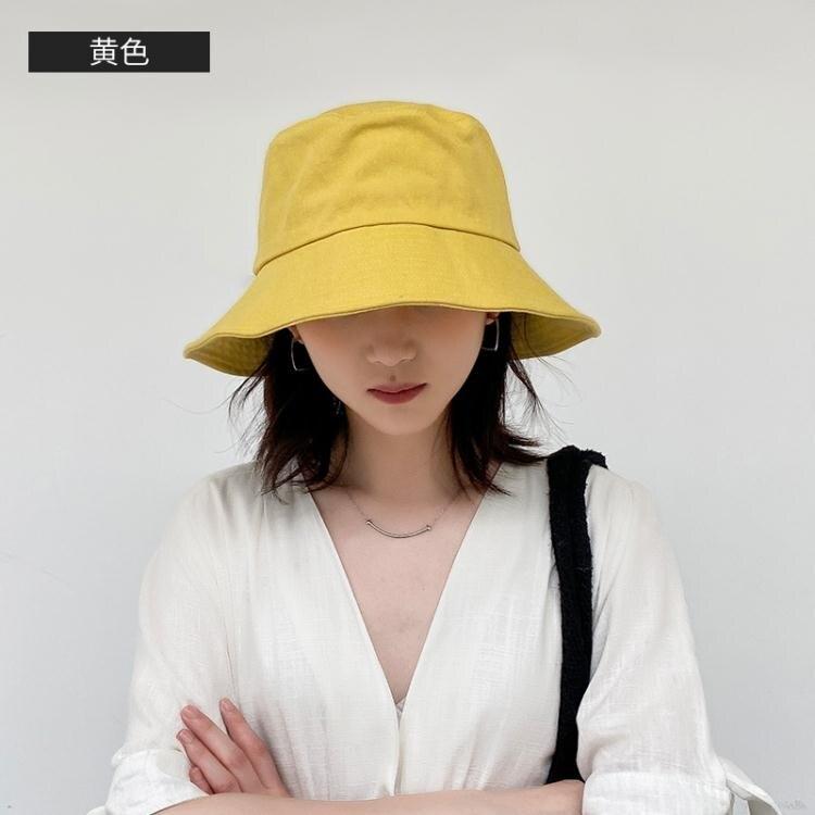 遮陽帽 黑色帽子雙面漁夫帽女秋冬韓版百搭日系遮陽帽防曬顯臉小冬季