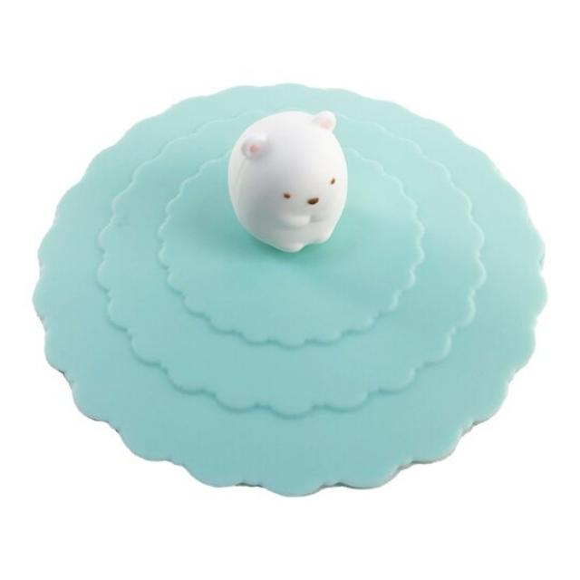 小禮堂 角落生物 北極熊 立體造型矽膠杯蓋 防漏杯蓋 環保杯蓋 直徑9.5cm (綠)
