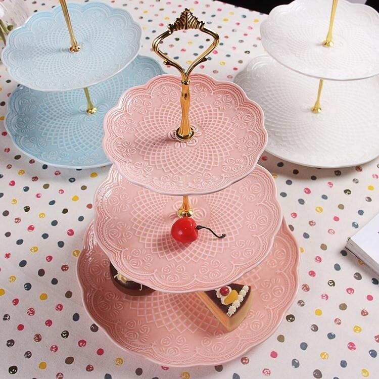 水果盤 陶瓷水果盤客廳創意現代點心架玻璃蛋糕籃三層干果托盤子家用簡約-盛行華爾街