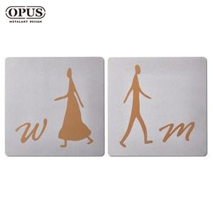 OPUS歐式鐵藝廁所標示牌/洗手間(男女方形套組/邂逅)銀方形套組 / 不鏽鋼