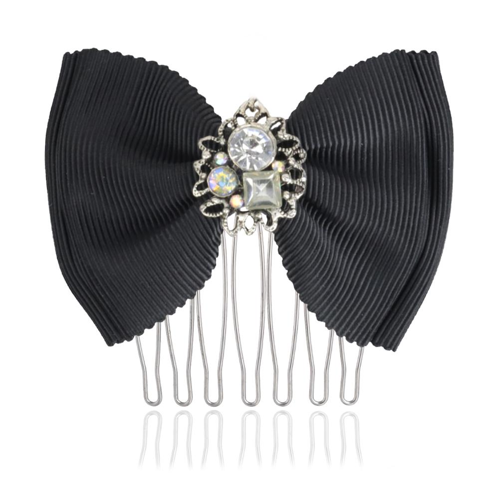 [台灣手工商品]大方黑色垂墜珍珠綴飾短髮叉 CC18046