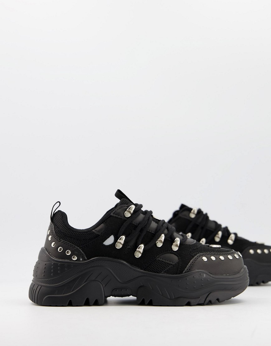 ASOS DESIGN Diazo studded chunky trainers in black