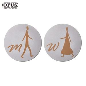 OPUS歐式鐵藝廁所標示牌/洗手間(男女圓形套組/邂逅)銀圓形套組 / 不鏽鋼