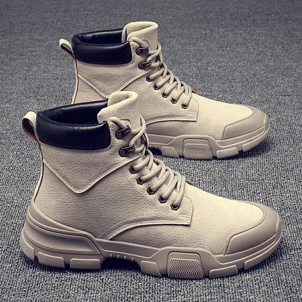 馬丁靴 鞋子高幫馬丁靴男士中幫工裝靴雪地男靴潮鞋加絨保暖棉鞋 伊莎公主