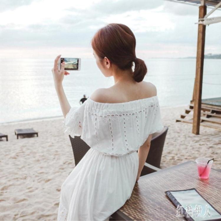 海邊度假沙灘長裙女夏2020新款洋裝超仙一字領露肩時尚連身裙 yu13583品質保證