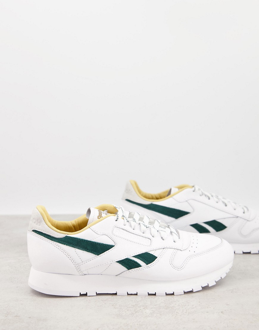 Reebok Classic Leather trainers in white and green
