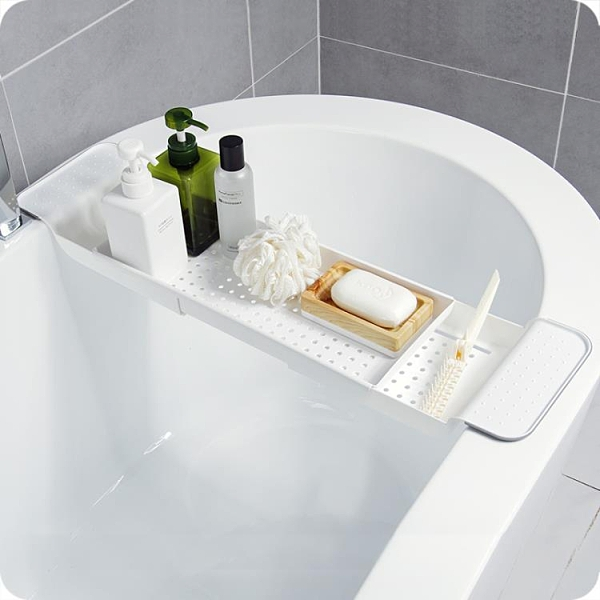 置物架 浴缸可伸縮瀝水塑料置物架衛生間浴室泡澡多功能防滑紅酒收納架子【快速出貨八折下殺】