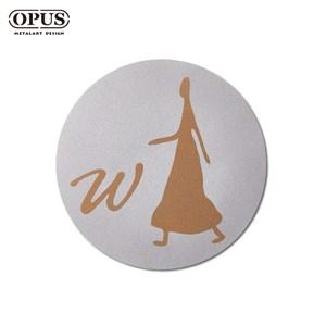 OPUS 歐式鐵藝廁所標示牌/WC洗手間(女生圓款/邂逅)銀女生圓款 / 不鏽鋼