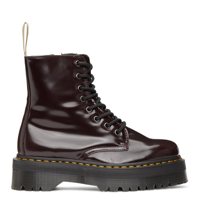 Dr. Martens 酒红色 Jadon 2 纯素皮革踝靴