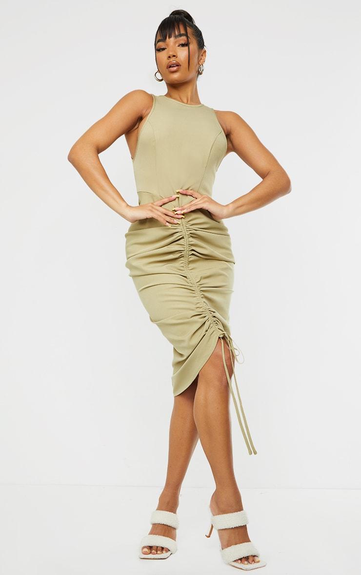 Sage Green Sleeveless Gathered Ruched Skirt Midi Dress