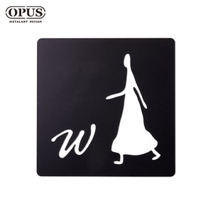 OPUS 歐式鐵藝廁所標示牌/WC洗手間(女生方款/邂逅)黑女生方款 / 鏤空黑