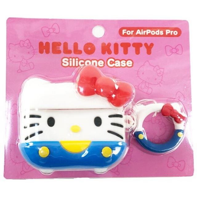 小禮堂 Hello Kitty Apple Airpods Pro 造型矽膠保護殼 藍牙耳機盒 保護套 (藍白 大臉)