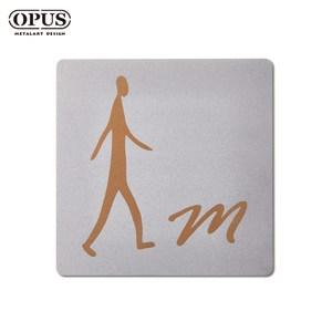 OPUS 歐式鐵藝廁所標示牌/WC洗手間(男生方款/邂逅)銀男生方款 / 不鏽鋼
