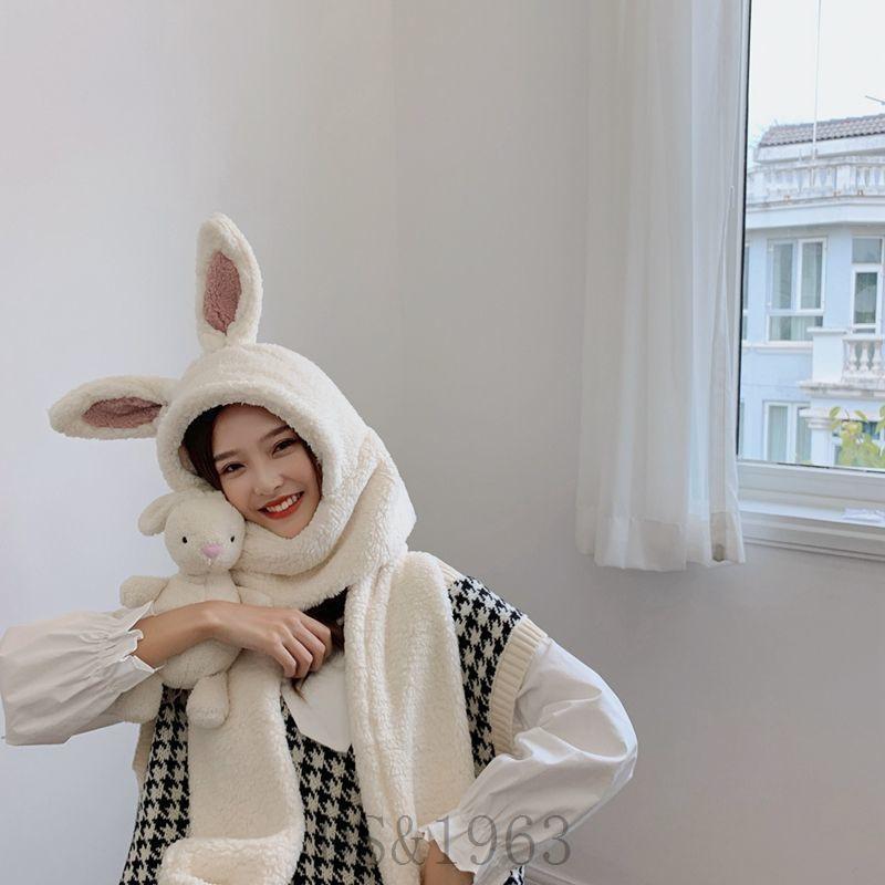 【TPTCV專賣店】可愛毛絨兔子耳朵保暖加厚女秋冬天帽子圍巾手套三件套裝一體帽