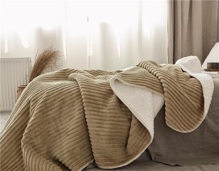 毛毯 毛毯加厚毯子秋冬季保暖羊羔絨空調毯北歐條紋[優品生活館]