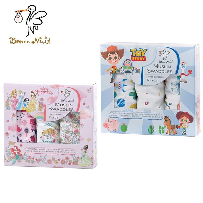 Bonne Nuit 迪士尼竹纖維包巾3入裝(玩具總動員/公主) 米菲寶貝