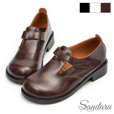 山打努SANDARU-大頭鞋 文藝復古魔鬼氈瑪莉珍鞋-咖啡