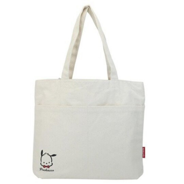 小禮堂 帕恰狗 直式雙格帆布側背袋 帆布手提袋 書袋 帆布袋 (米 大臉)