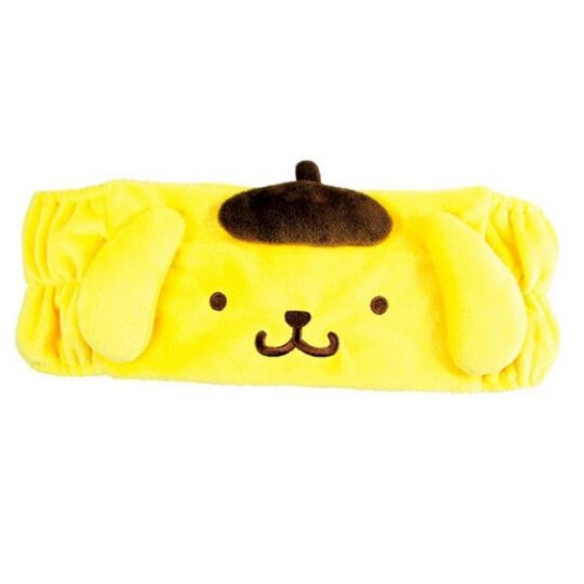 小禮堂 布丁狗 造型鬆緊束髮帶 附收納包 絨毛髮帶 洗臉髮帶 髮箍 (黃 大臉)