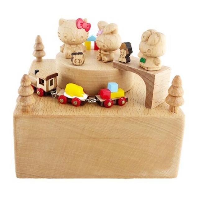 小禮堂 Sanrio大集合 造型木質音樂鈴 旋轉音樂鈴 復古音樂鈴 音樂盒 (棕 列車)