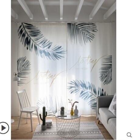 網紅窗簾北歐風格ins風清新窗簾成品簡約現代遮光布臥室客廳飄窗無桿  年貨節預購 全館8.5折起
