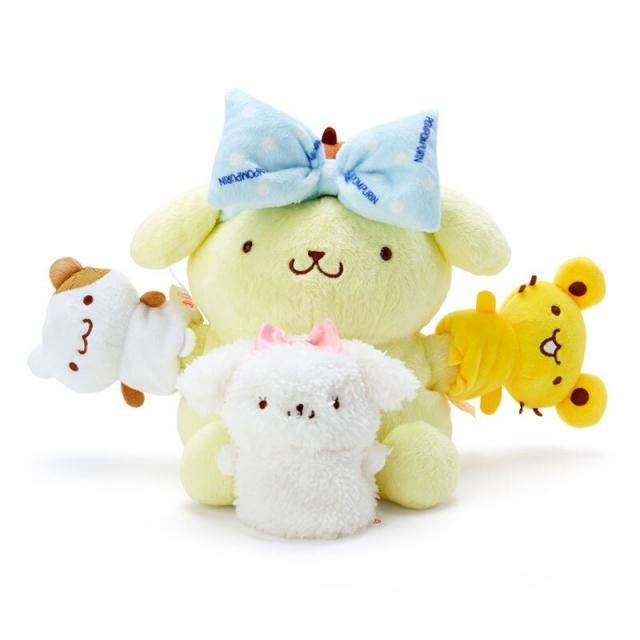 小禮堂 布丁狗 絨毛玩偶組 手指玩偶 絨毛娃娃 布偶 指偶 透明盒裝  (4入 黃藍 牛奶泡泡浴)