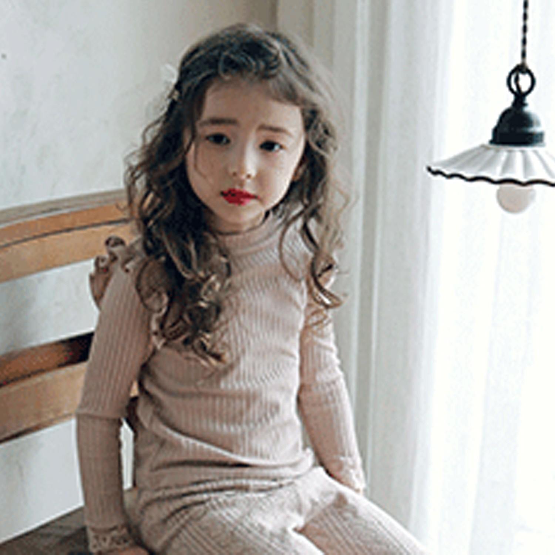 韓國 PuellaFLO - 荷葉裝飾袖羅紋上衣-淺粉